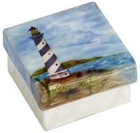Blue and white lighthouse box.