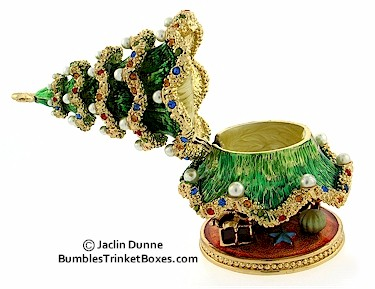Trinket Box Christmas Tree With Imitation Pearl Ornaments