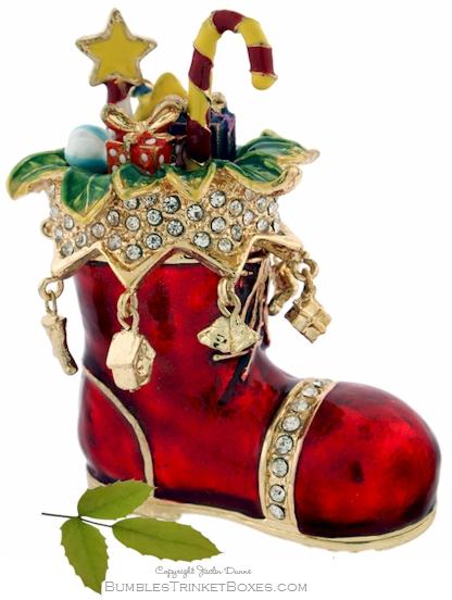 Trinket Box Santa S Boot And Presents