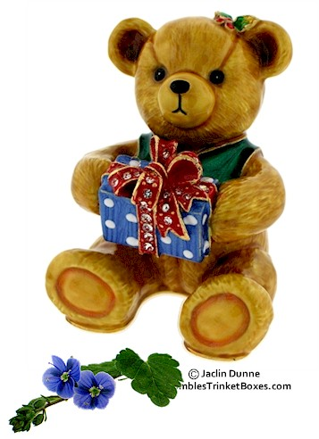 Gift Bear on Trinket Box Item  Eb 3708 Holly Teddy Bear With Gift Box