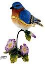 Bluebird on flower trinket box.